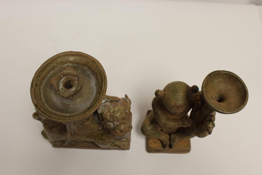 2 Han style pottery candle holders - 5