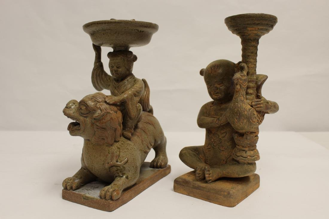 2 Han style pottery candle holders - 8
