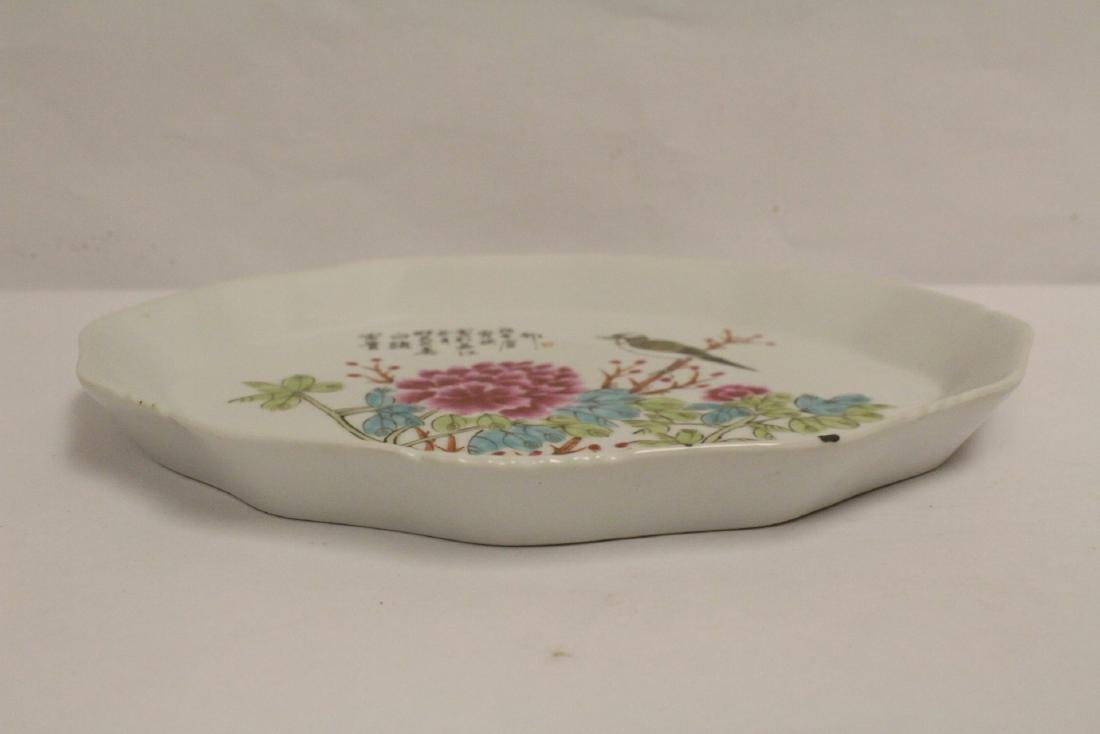 2 Chinese famille rose porcelain oval trays - 8