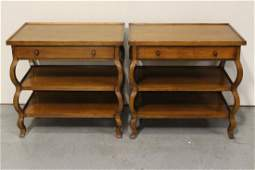 Pair mahogany 3-tier side tables by Baker