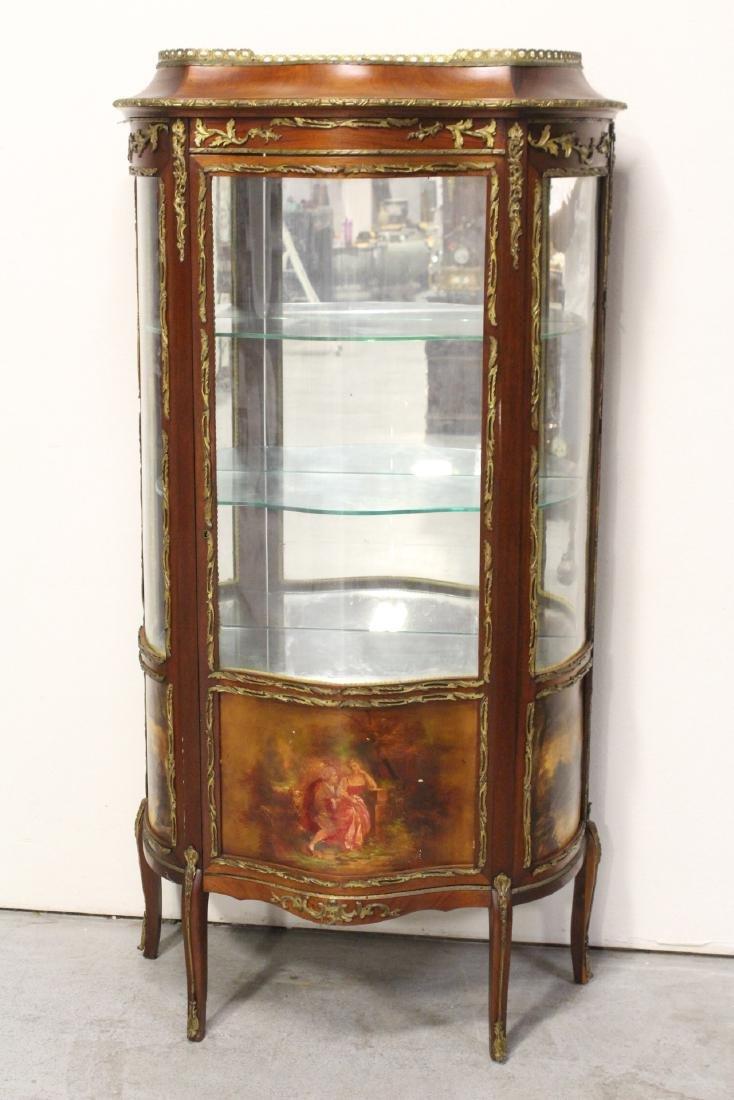 antique French curio cabinet w/ gilt bronze ormolu