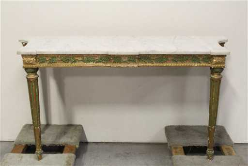 Italian Antique Marble Top Painted Wood Console Table See Sold Price