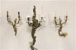 Pr bronze wall sconces, & a gilt metal and crystal