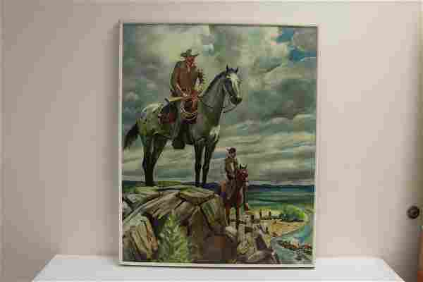 """O/c """"western scene with cowboys"""", signed"""