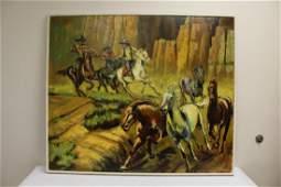 "O/c ""western scene with horse hunter"", signed"