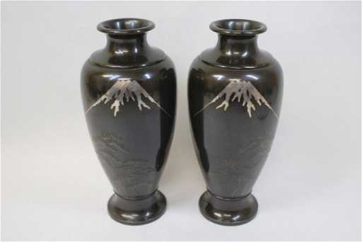 Pr Japanese Antique Bronze Vases W Silver Inlaid