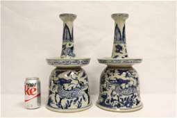 Pair Chinese b&w porcelain candle holders