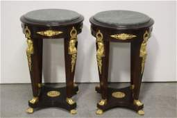 Pair marble top mahogany side table w/ gilt bronze