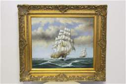 """Oil on canvas """"seascape with ship"""""""
