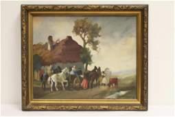 A vintage European oil on canvas painting