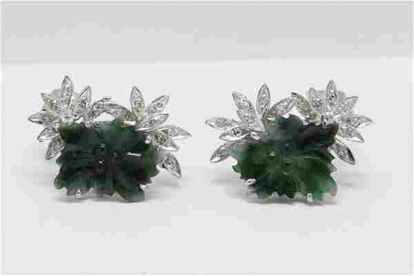 Pair 14K W/G jadeite diamond earrings