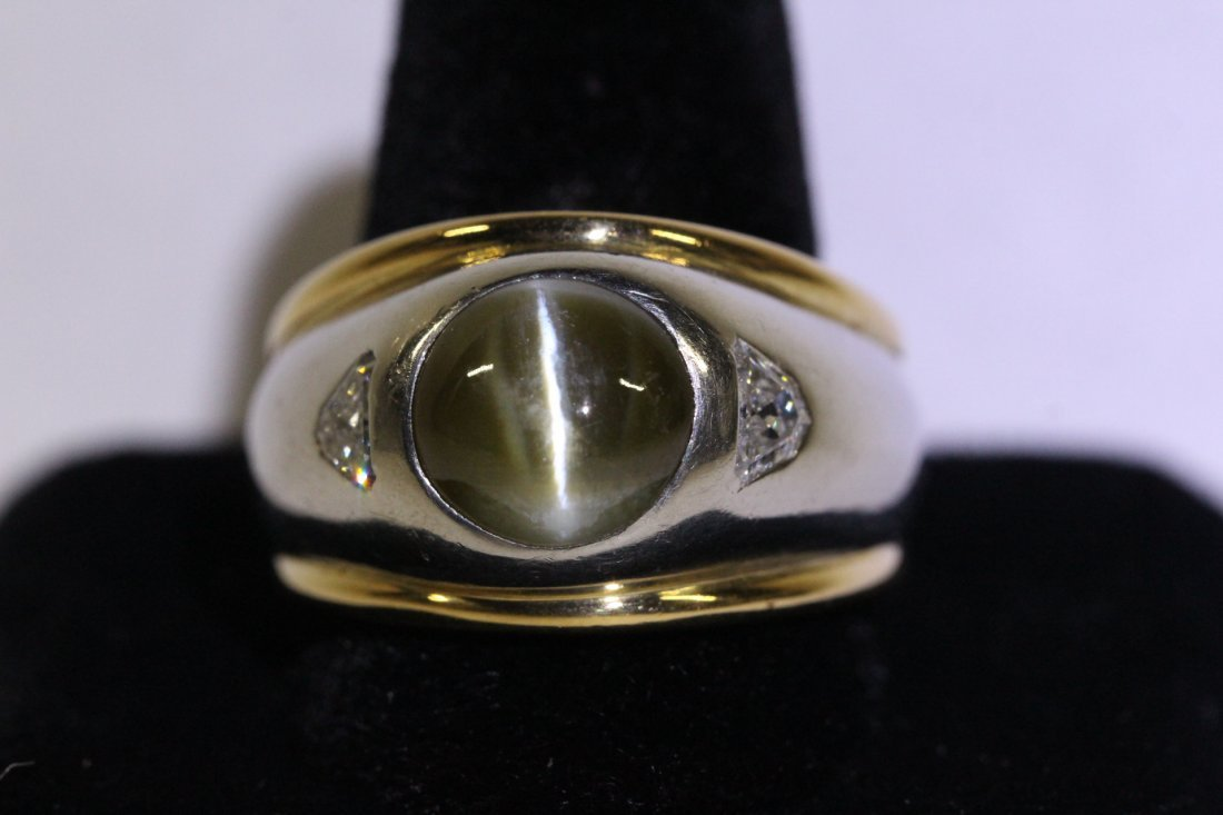 platinum and 18K chrysoberyl diamond ring