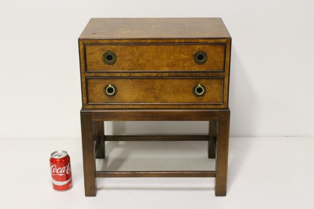 A Burl Walnut Side Table ,signed John Widdicomb