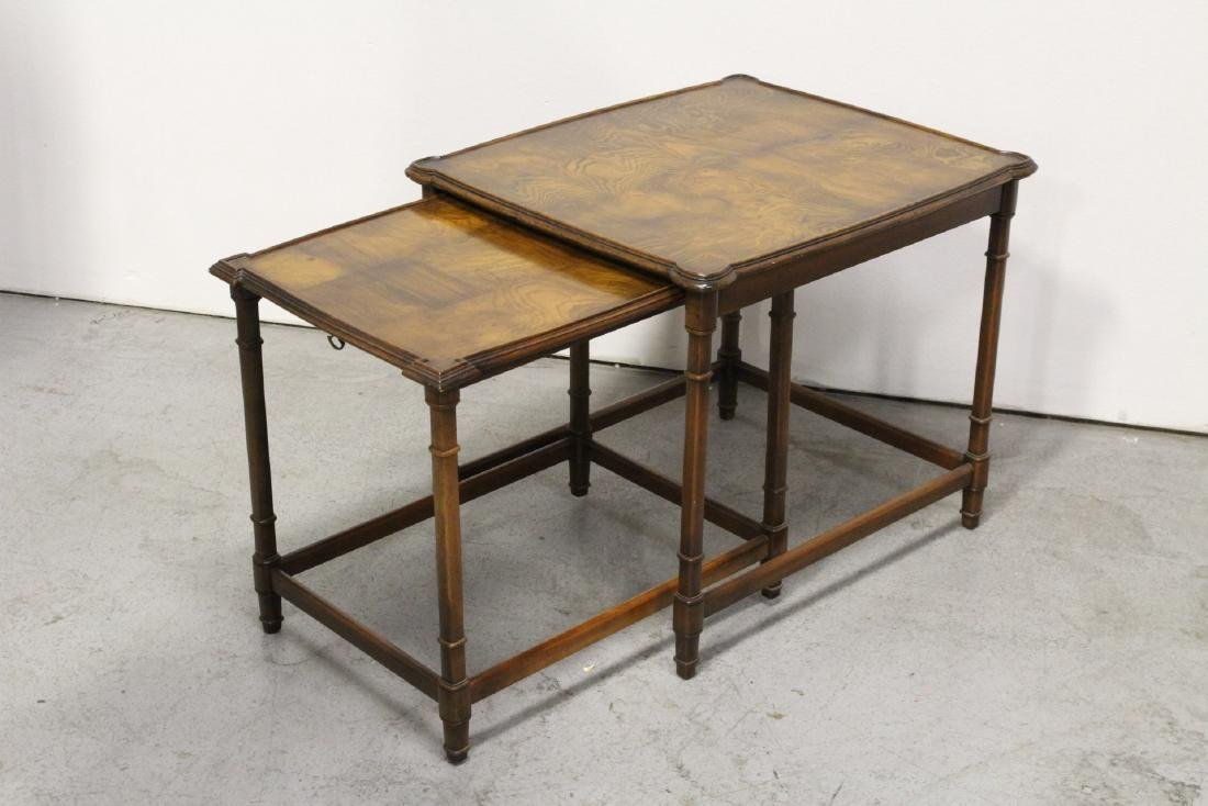 2 beautiful walnut stackable tables