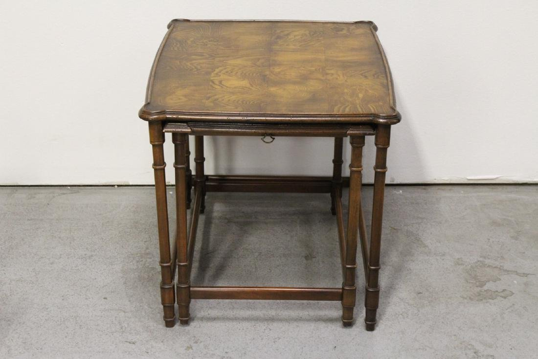 2 beautiful walnut stackable tables - 2