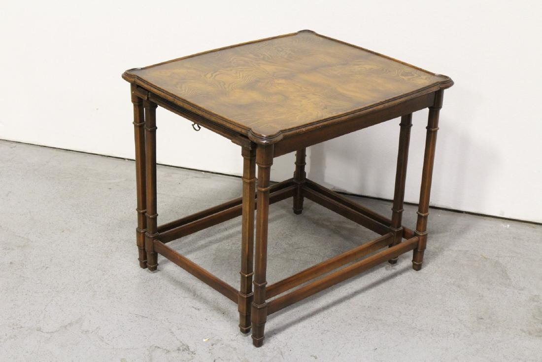 2 beautiful walnut stackable tables - 4