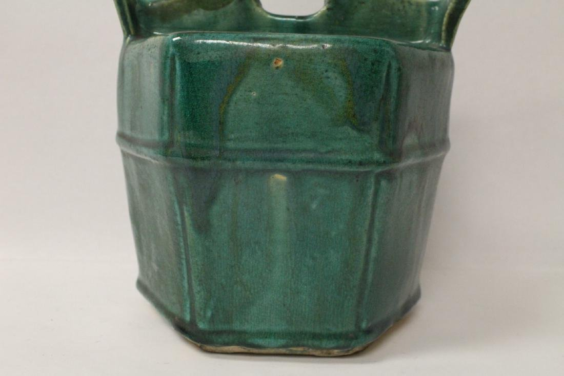 Unusual Chinese green glazed water server - 7