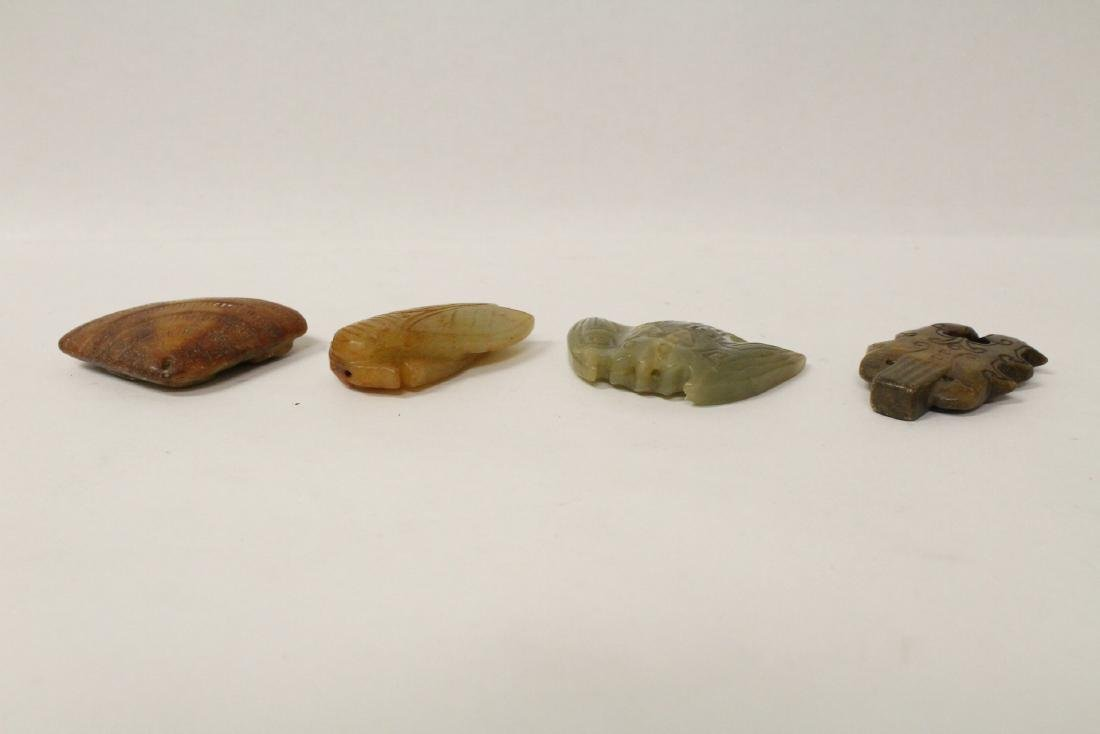Group of 10 jade like stone carved ornaments - 5