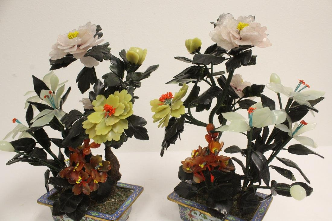 2 Chinese jade trees with cloisonne planters - 10