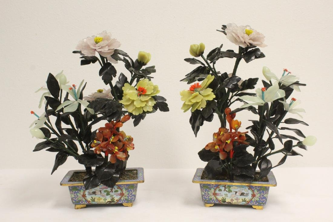 2 Chinese jade trees with cloisonne planters