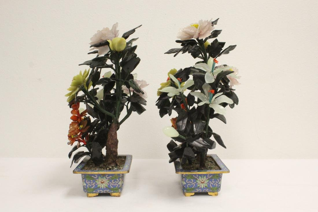 2 Chinese jade trees with cloisonne planters - 2