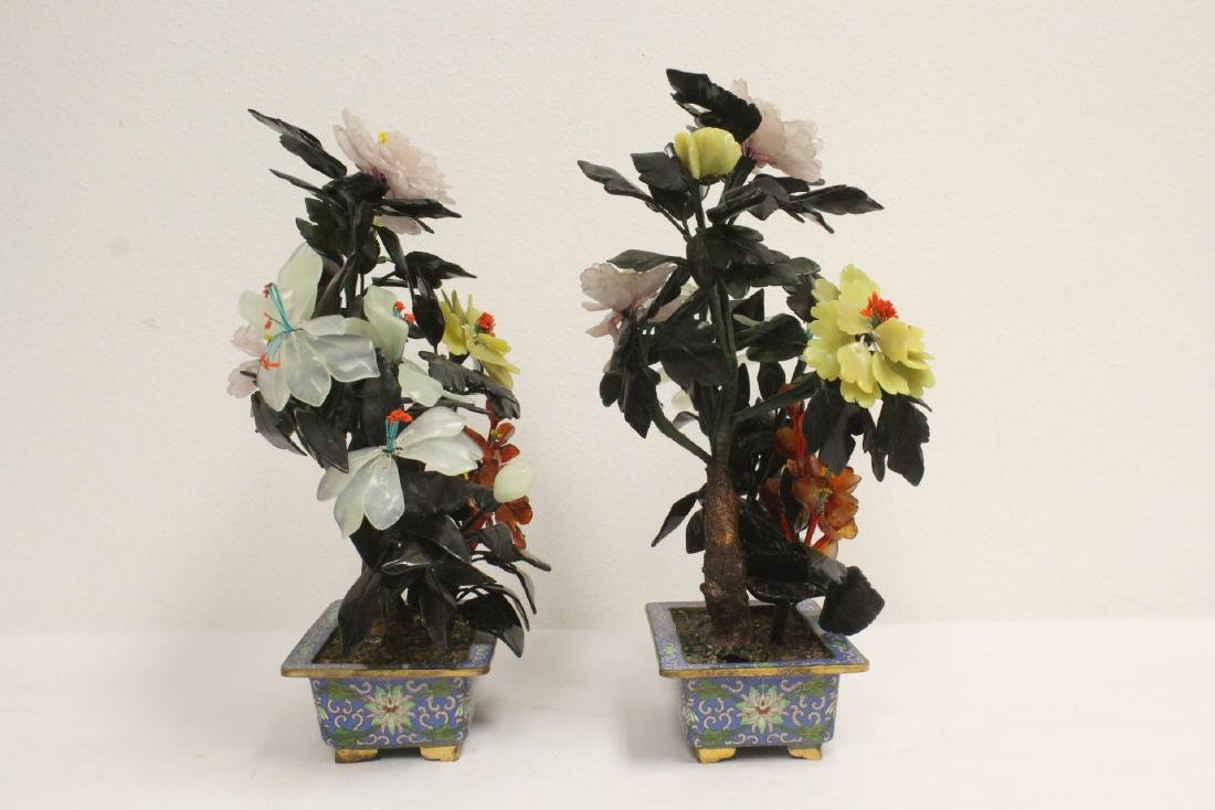 2 Chinese jade trees with cloisonne planters - 3