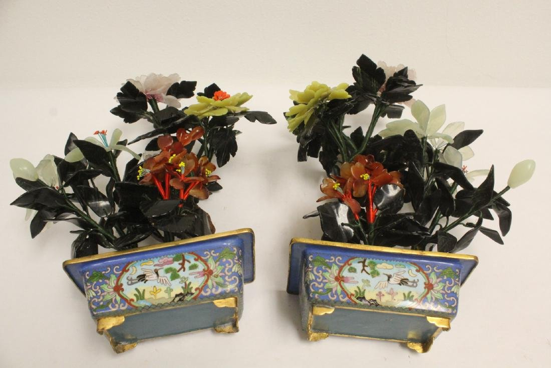 2 Chinese jade trees with cloisonne planters - 5