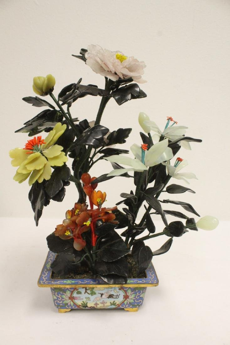 2 Chinese jade trees with cloisonne planters - 6