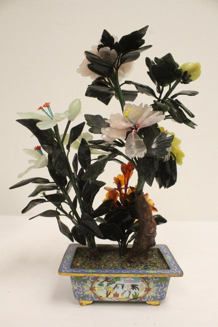 2 Chinese jade trees with cloisonne planters - 7