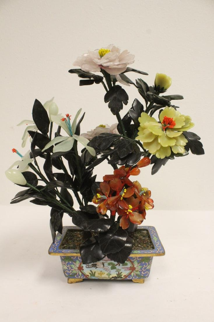 2 Chinese jade trees with cloisonne planters - 8