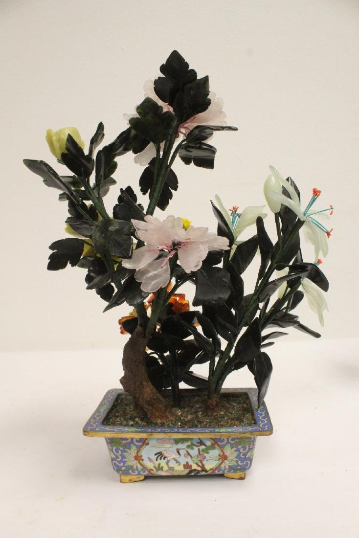 2 Chinese jade trees with cloisonne planters - 9
