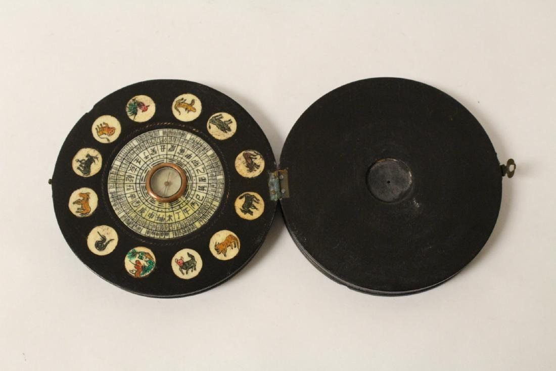 Chinese antique enamel box & a box with compass - 10