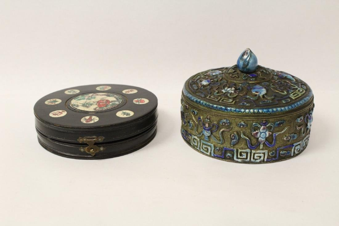 Chinese antique enamel box & a box with compass