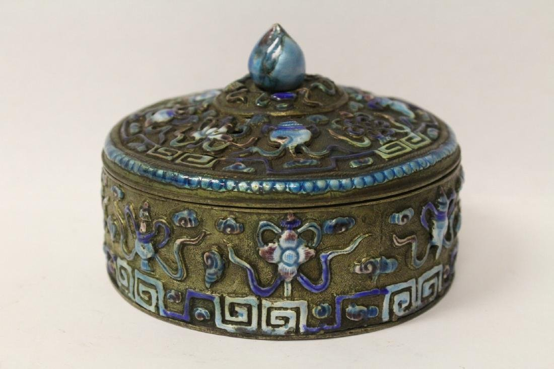 Chinese antique enamel box & a box with compass - 2