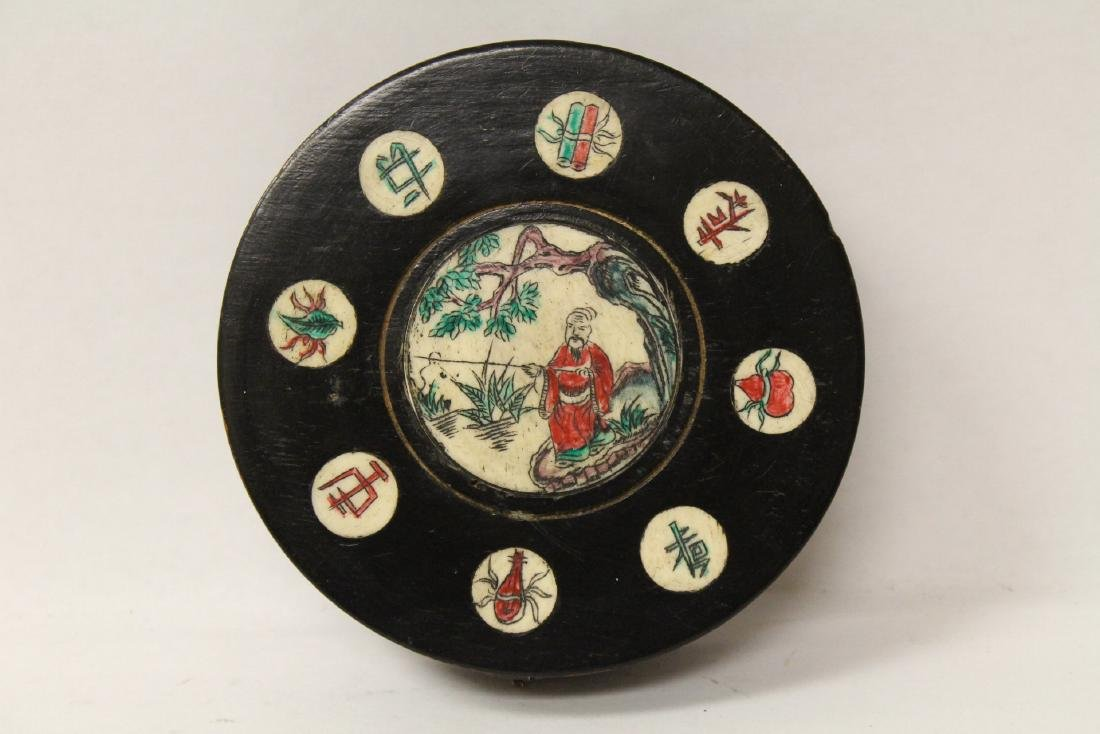 Chinese antique enamel box & a box with compass - 7