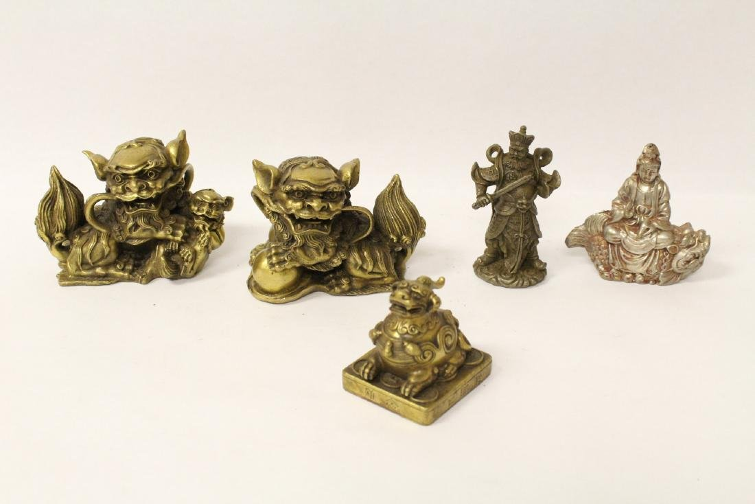 5 Chinese miniature bronze ornaments