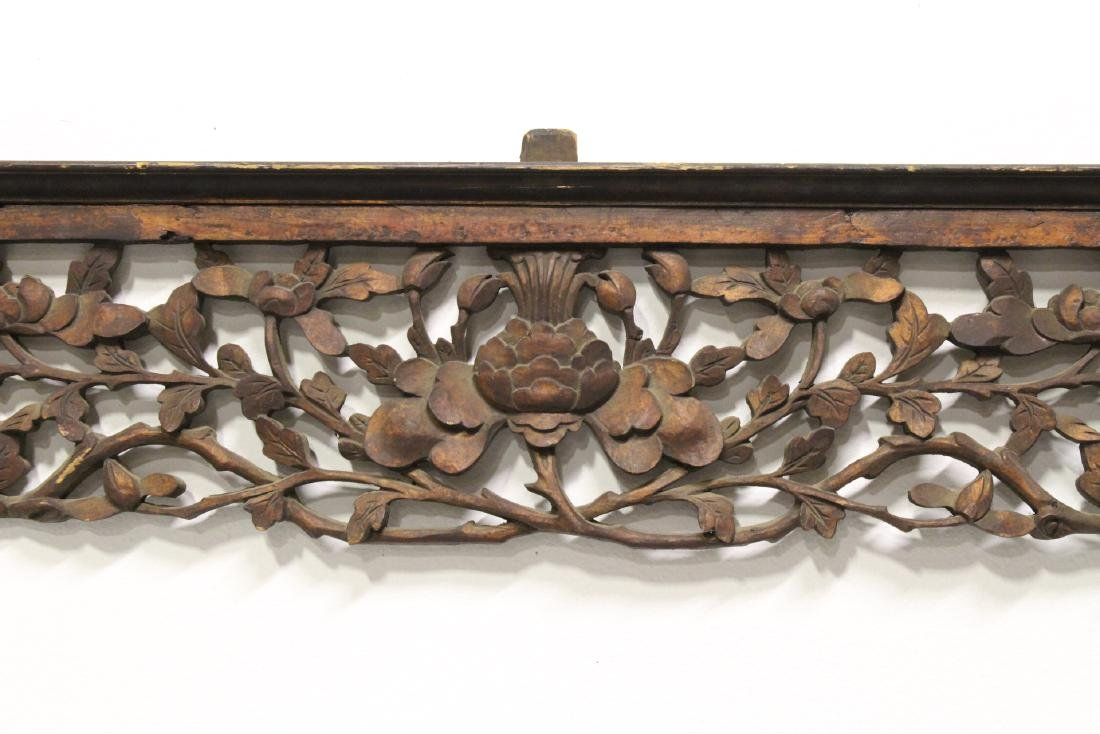 Chinese 19th c. lg wood carved entry way ornament - 5