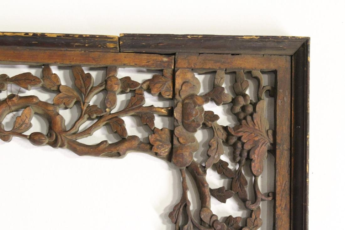 Chinese 19th c. lg wood carved entry way ornament - 6