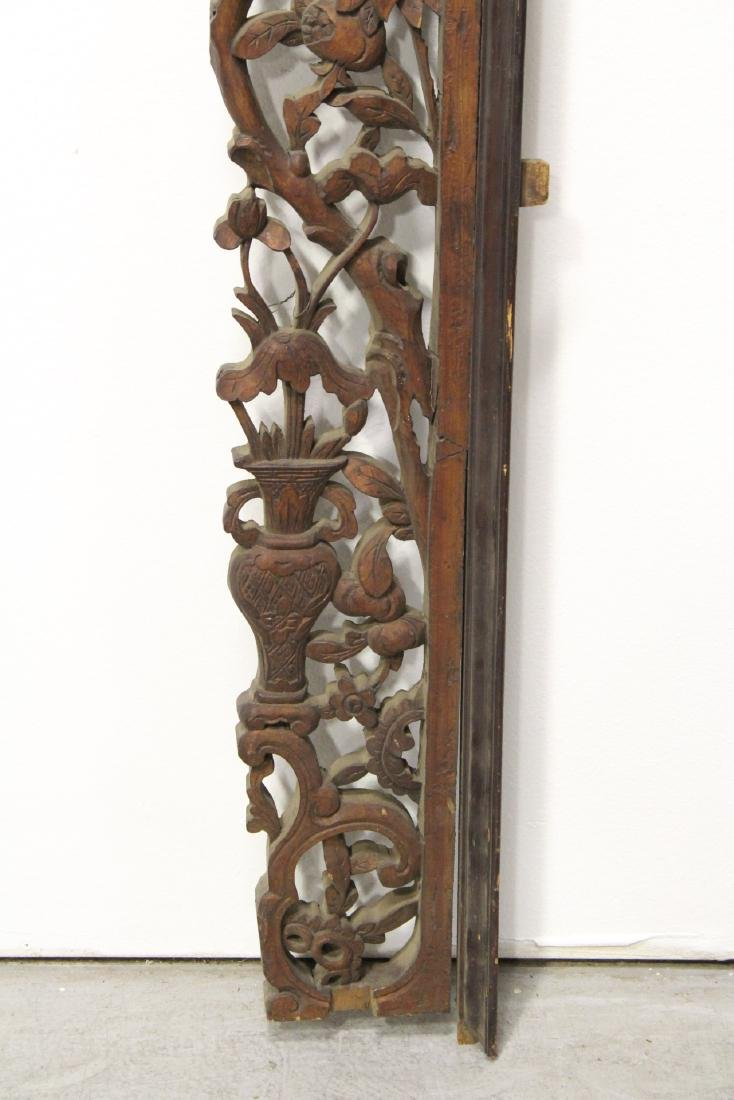 Chinese 19th c. lg wood carved entry way ornament - 8