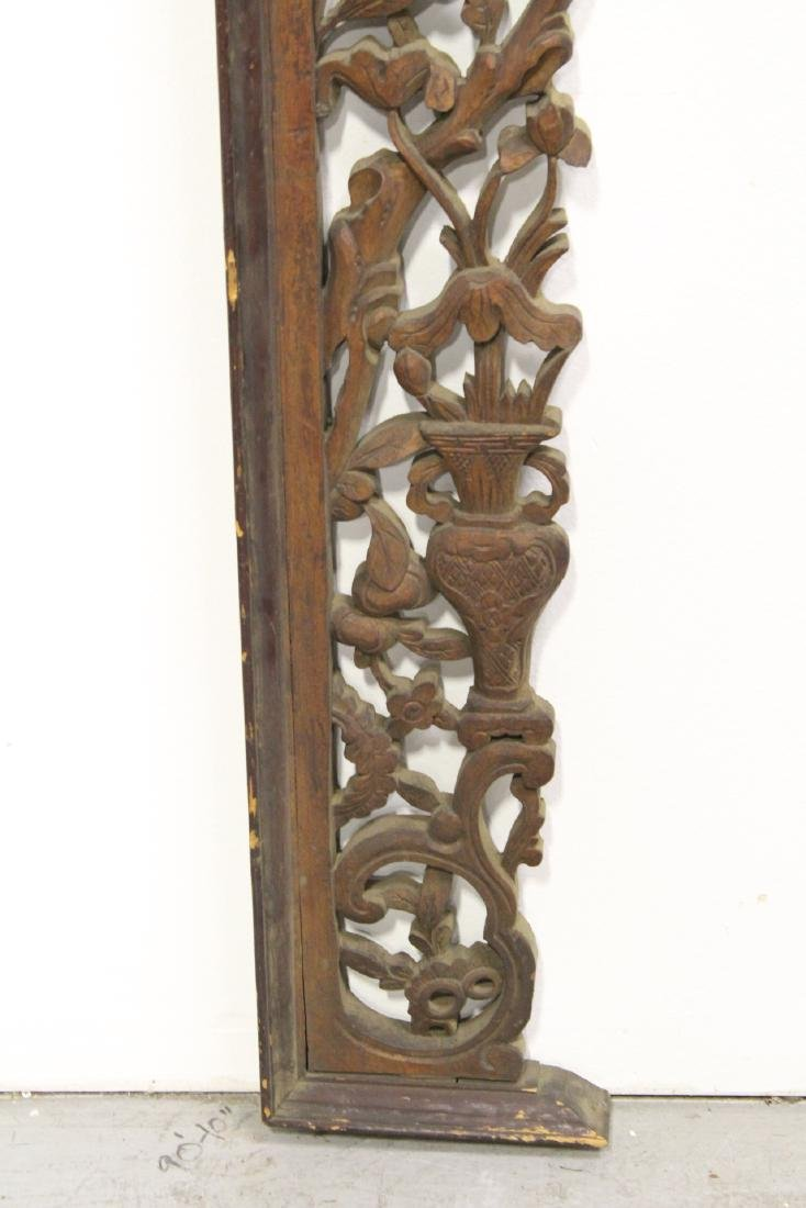 Chinese 19th c. lg wood carved entry way ornament - 9