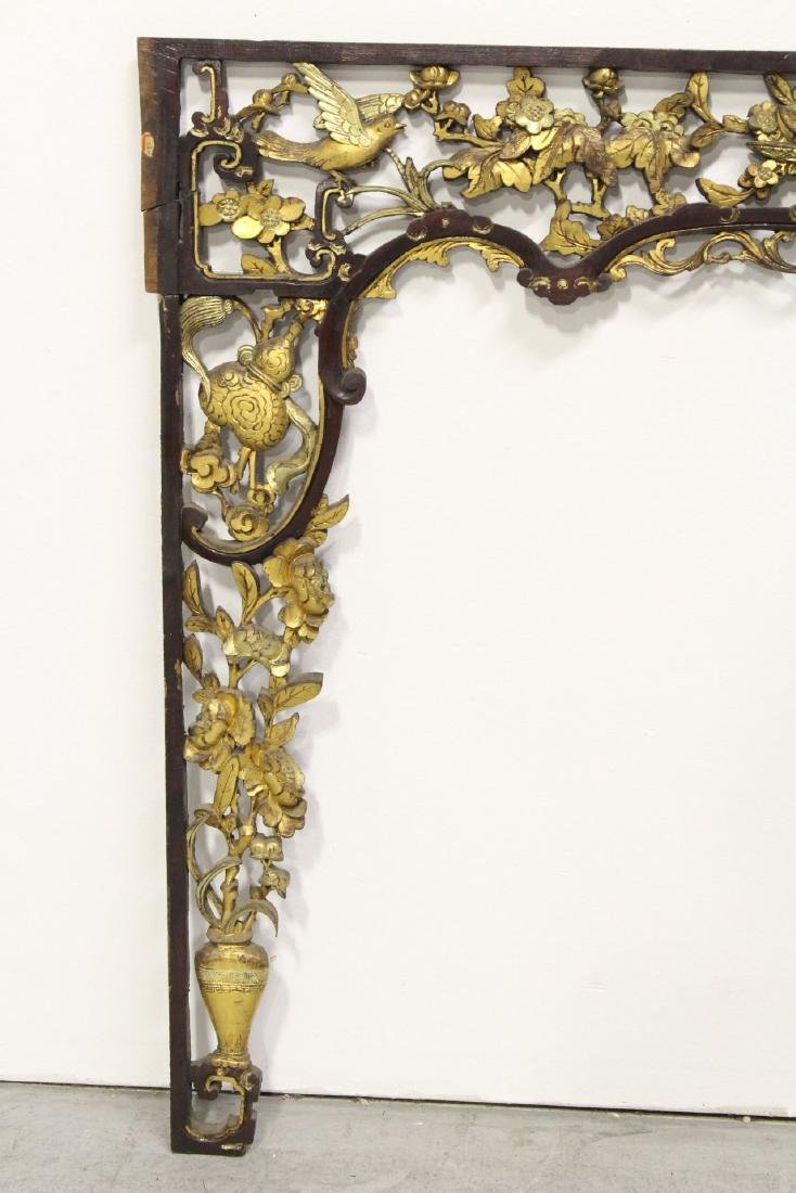 Chinese 19th c. gilt wood carved entry way ornament - 2