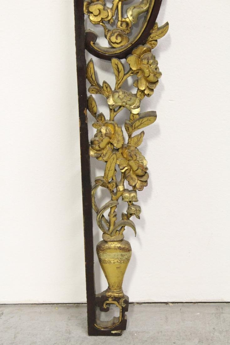 Chinese 19th c. gilt wood carved entry way ornament - 7