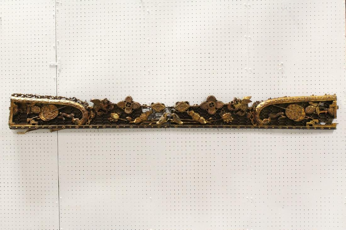 2 Chinese 19th c. gilt wood wall hanging