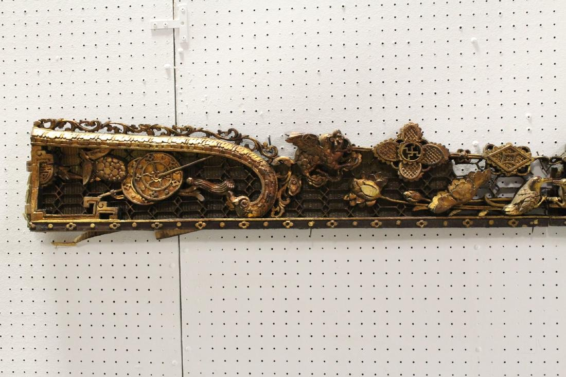 2 Chinese 19th c. gilt wood wall hanging - 2