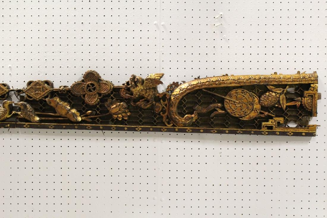 2 Chinese 19th c. gilt wood wall hanging - 3