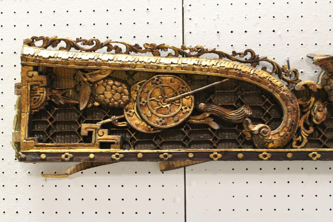 2 Chinese 19th c. gilt wood wall hanging - 7
