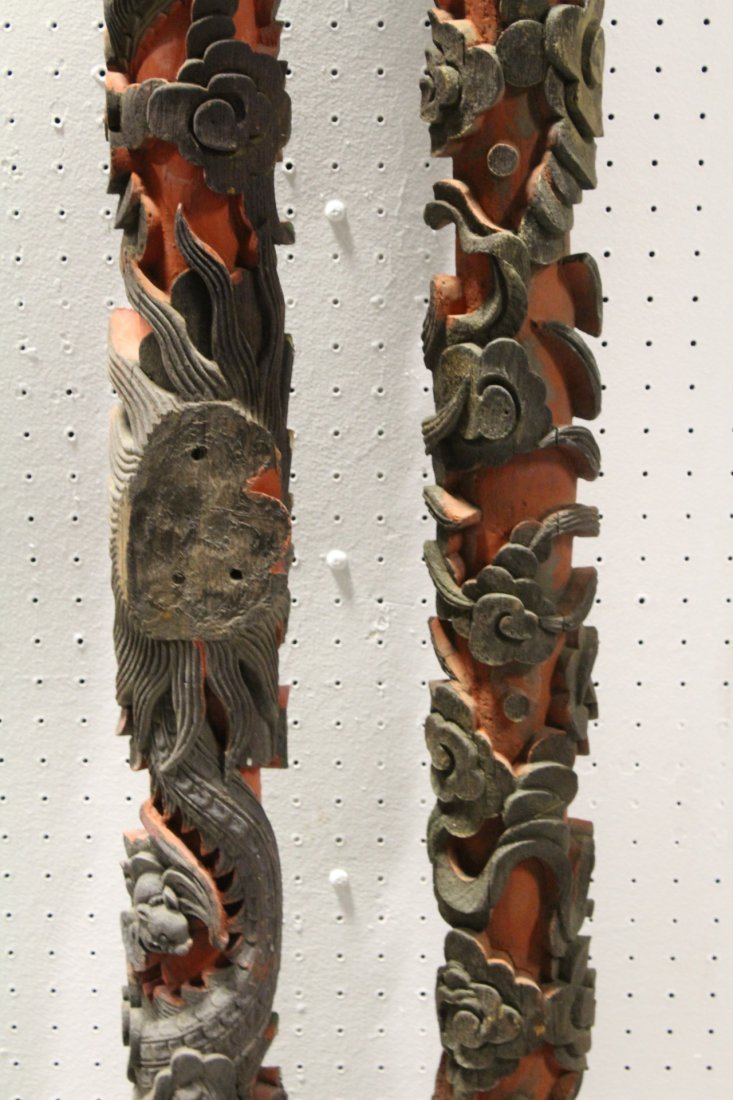 2 Chinese 19th c. wood carved ornaments - 7