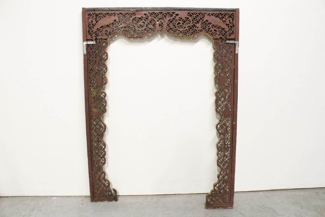 Chinese 19th c. gilt wood carved entry way ornament - 10