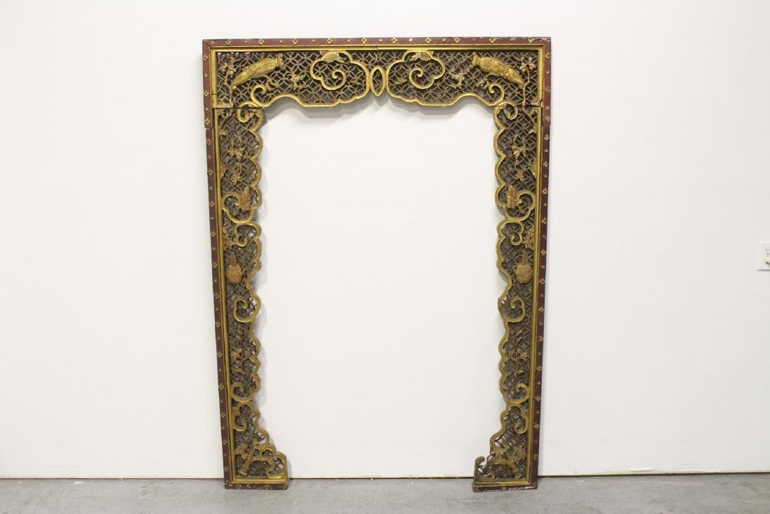 Chinese 19th c. gilt wood carved entry way ornament