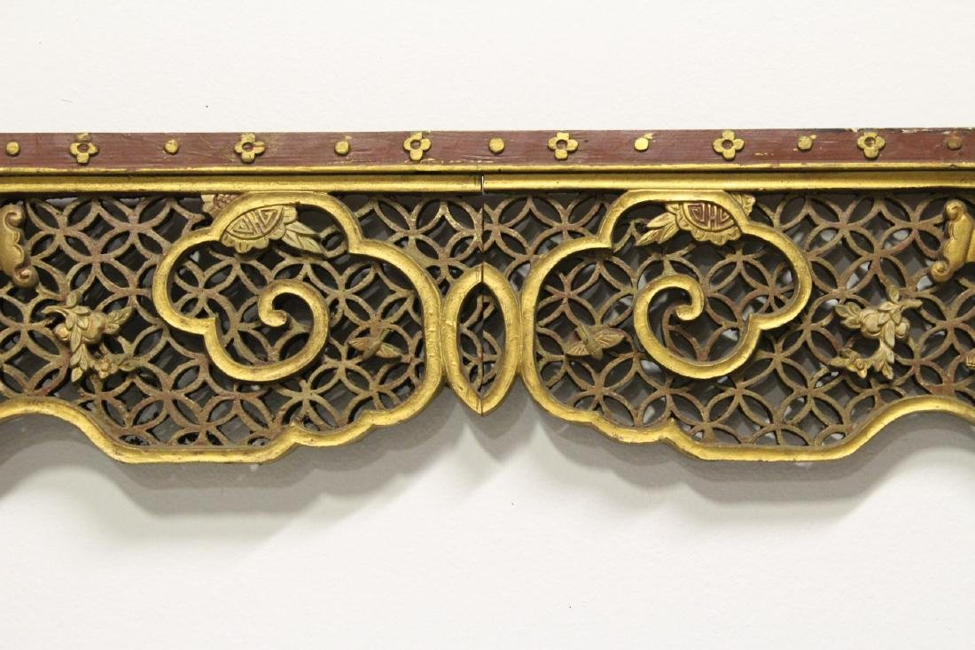 Chinese 19th c. gilt wood carved entry way ornament - 4